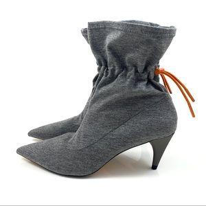 NWT ZARA WOMAN gray boots with orange drawstring